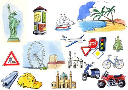 Cliparts des Niedersächsischen Bildungsservers (NiBiS) zu Bauwerken, Landschaft und Verkehr