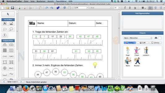 Screenshot der Mac-Version des Worksheet Crafter