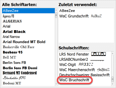 Bruchschrift Screenshot