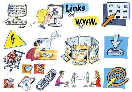 Cliparts des Niedersächsischen Bildungsservers (NiBiS) zu Computer und Technik