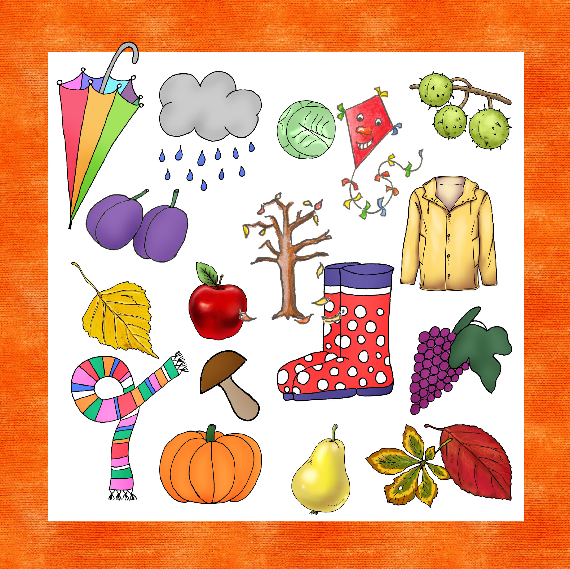 Herbst Cliparts Worksheet Crafter