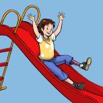 Kind mit Prothese auf Rutsche blau