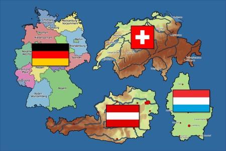 Landkarten Deutschland Oesterreich Schweiz Luxemburg