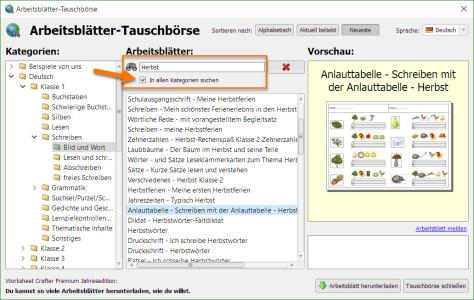 Worksheet Crafter Tauschboerse Herbst