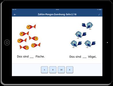 iPad mit Zahl-Mengen-Zuordnung Voegel