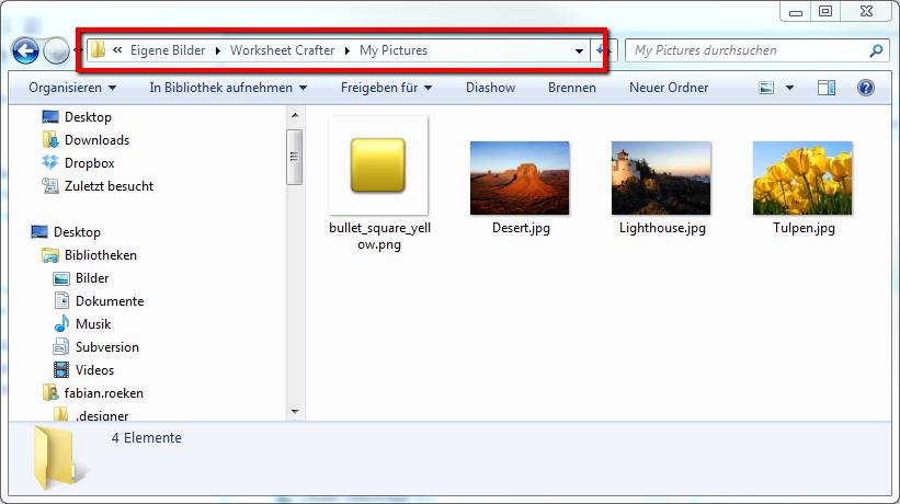 Tipp: Eigene Bilder einfacher hinzufügen